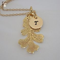 Personalized Necklace Real Gold Leaf Initial Lacey Oak - Wedding nacklaces (*Amazon Partner-Link)