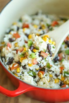 One Pot Beans, Chicken and Rice - This is pretty much a burrito bowl made in a single pot. Even the rice gets cooked right in! So easy for those weeknights!