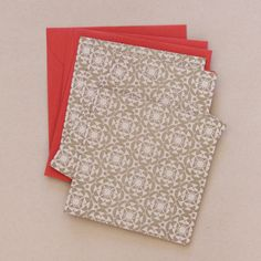 Gold Snowflake Letter-pressed Holiday Cards - Set of 4 - Red Envelopes. Designed by me! via Etsy.