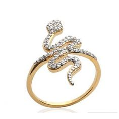 Bague plaqué or 18 carats avec serpent serti de brillants, COLLECTION ZANZYBAR , Modèle GRIGRI