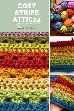 De Cosy Stripe is een heerlijke beginners haak deken waarbij je alleen lossen en stokjes hoeft te kunnen. Haak de deken met de vrolijke aanbevolen kleuren, of maak zelf je eigen kleurenpalet. Het gratis haakpatroon staat bomvol stap voor stap foto's waardoor ook jij dit haakpatroon kunt leren maken! Cosy, Friendship Bracelets, Blanket, Crochet, Ganchillo, Blankets, Cover, Crocheting, Comforters