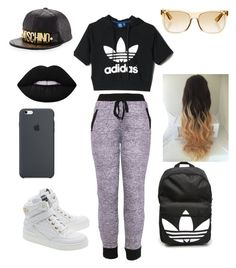 """""""dat brat"""" by ayeitzryan ❤ liked on Polyvore featuring adidas, Moschino, RetroSuperFuture and Lime Crime"""