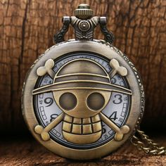 Cartoon Watch Steampunk Bronze Vintage Retro One Piece Luffy Pocket Watches Necklace Pendant Gift Free Shipping