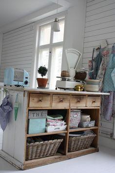 love this kitchen island idea....and old dresser