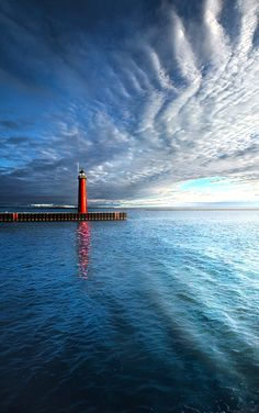 Lighthouse on the shore of Lake Michigan in Kenosha, Wisconsin. Wisconsin Horizons By Phil Koch. Lives in Milwaukee, Wisconsin, USA. Pinned by #CarltonInnMidway - www.carltoninnmidway.com