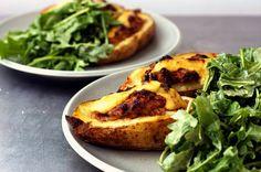 sausage-stuffed potatoes + green salad