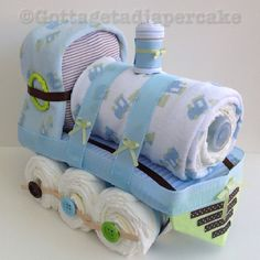 Train diapercake made to match baby shower theme.