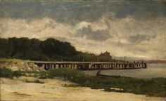 Untitled (landscape with pier) by Edward Mitchell Bannister