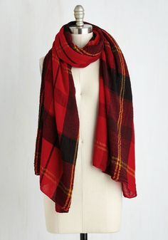 Academic Aspirations Scarf in Red. Whether youre aiming for honor roll or applying to grad school, the plaid of this lightweight scarf puts you in a scholarly mindset. #red #modcloth