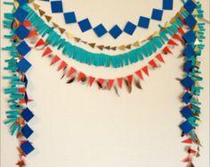 Guirnalda de papel geométrico tribal Set - papel fondo, vaqueros y los indios, partido de Pow Wow, Baby Shower. Guirnalda de cumpleaños. Foto de apoyo