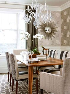 The vertical distance from the center of one pattern to the center of the next is called the pattern repeat. Large pattern repeats are more than 6 inches in size. The large repeat of a floral print adds a touch of whimsy to this formal dining room in shades of gray
