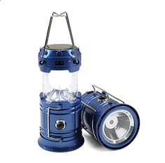 WINHI LED Camping Lantern, Collapsible Flashlights Camping Equipment with 2 Modes of Power Supply Great for Home, Garden, Camping, Hiking and Emergencies (Blue)