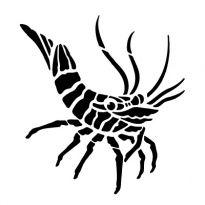 Szablon malarski z tworzywa, wielorazowy, wzór morski 6 - Krewetka