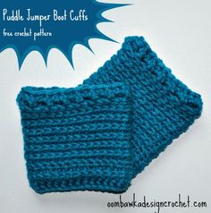 Puddle Jumper Boot Cuffs - Toddler / Small Child Version to fit inside rain boots :) Free Crochet Pattern