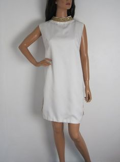 Vintage 1960s White Shift Dress With Gold Lurex & Sequin Detail available to buy online at Virtual Vintage Clothing £23
