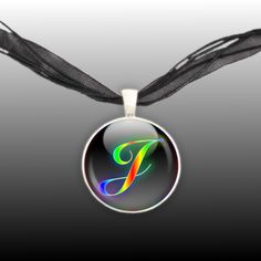 "Neon Glow Rainbow Capital Letter ""J"" Initial Monogram Art 1"" Pendant Illustration Necklace in Silver Tone * FREE Shipping in USA * by AutumnsGlory on Etsy https://www.etsy.com/listing/194789816/neon-glow-rainbow-capital-letter-j"