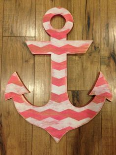 Large distressed hot pink and white chevron wood anchor sign photo prop nautical home decor wall art on Etsy, $44.00