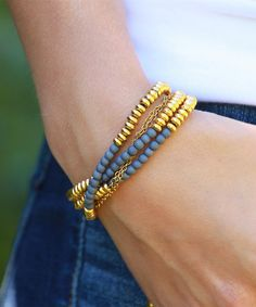 Look at this Gray & Goldtone Beaded Leather Wrap Bracelet on #zulily today!
