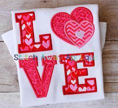 Valentine's Day LOVE Hearts Machine Embroidery Applique Design
