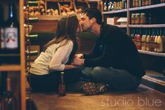 engagement session inside a grocery store | studio blue