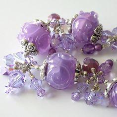 Lavender Lampwork Bracelet Alexandrite by PacificJewelryDesign