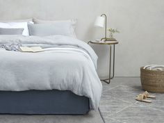 Love the look of linen? Enjoy it daily with a blend linen, cotton) that comes at a very nice price - finished with a pretty broderie trim and nice mother of pearl buttons. Linen Bedding, Bed Linen, Mother Of Pearl Buttons, Bedroom Inspo, It Is Finished, Grey, Range, Furniture, Nice