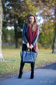 leather jacket burgundy scarf celine mini luggage street style outfit ootd fall style fall outfit outfit for fall