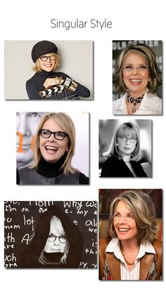 Fearless with her wardrobe, Diane Keaton's glasses are a great blend of glasses shapes and patterns.