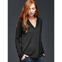 Gap Women Pure Body Modal Hoodie ($35) ❤ liked on Polyvore featuring tops, hoodies, regular, true black, black long sleeve top, long sleeve hoodies, hooded pullover, gap hoodies and v-neck tops
