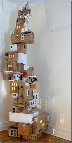 how fun would it be to build this....save your cardboard boxes!