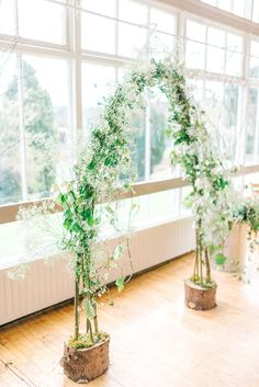 Willow framed constructed in advance? Greenery Altar Flower Arch - Greenery wedding at Hexham Winter Gardens Neutral Wedding Decor, Romantic Wedding Decor, Wedding Arch Rustic, Wedding Altars, Winter Wedding Flowers, Wedding Ceremony Flowers, Wedding Ceremony Decorations, Woodland Wedding, Floral Wedding