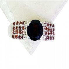 Riyo Breathtaking Garnet 925 Solid Sterling Silver Red Ring Srgar8.5-26171