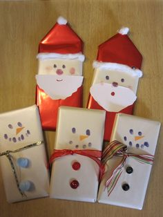 Santa and snowmen wrapped chocolate bars