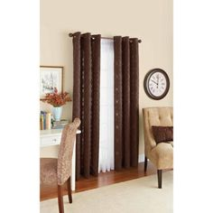 Better Homes and Gardens Diamond Jacquard Curtain Panel, Brown