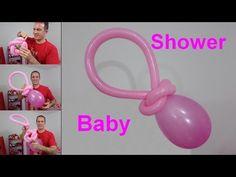 chupones con globos para baby shower- globoflexia fácil - decoracion baby shower niña - YouTube