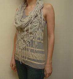 Fringed Triangle Cowl crochet pattern instructions by ElevenHandmade, crochet pattern PDF $5.00