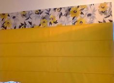 Plain Yellow Coloured Roman Blind with Contrasting Floral Border