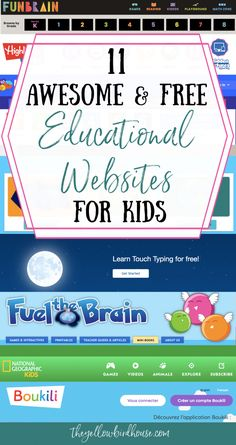 11 of the best and free educational websites for kids! Make learning fun with free games and activities for teaching math, literacy, science and more! Educational Websites For Kids, Free Learning Websites, Educational Leadership, Science Websites For Kids, Classroom Websites, Teacher Websites, Educational Crafts, Educational Technology, Classroom Ideas