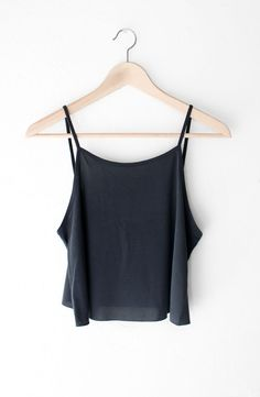 "- Description Details: Basic cami tank top in black with cropped hem and low back. See-through, relaxed fit. Measurements: (Size Guide) S: 37"" bust, 17"" length M: 39"" bust, 17.5"" length L: 41"" bust, 1"