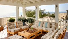 Beach House decor, Tim Clarke Interiors = warm woods, neutrals (cream to dk brown) , turquoise. The Strand | Evens Architects