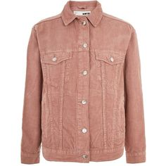 Topshop Moto Cord Oversized Jacket (220 PEN) ❤ liked on Polyvore featuring outerwear, jackets, dark pink, topshop jackets, cord jacket, cotton jacket, oversized jacket and beige jacket