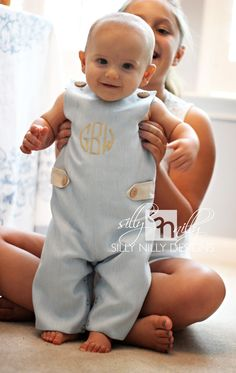 Baby Blue Summer Wool and Linen Monogrammed Longall for boys. $58.00, via Etsy.