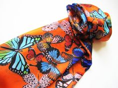 Silk Scarf. Hand made. Multicolor Butterflies on a by Khokoon, $75.00