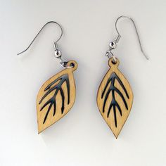 Leaf Drop - Laser Cut Wood Earrings. $16.00, via Etsy. #madebymonji