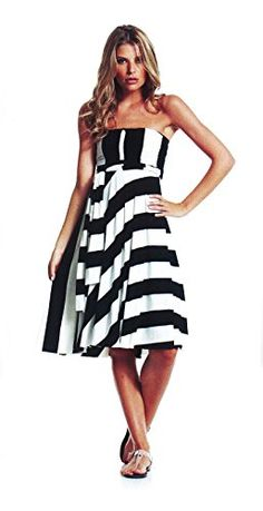 An Elan Usa Beautiful Sexy Stripe Summer Convertible Dress/Skirt (Small) - usa apple banner Wide Stripes, Hoodies, Sweatshirts, Four Seasons, Black Hoodie, Dress Skirt, Strapless Dress, Convertible Dress, Black And White