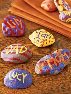 What you'll need: Smooth rocks, craft paint, paintbrushes  How to make it: Make sure rocks are clean and dry. Paint designs onto rocks; let dry, then paint on the names of each of your guests. Use rocks as place cards.