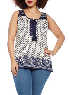 Plus Size Tank Top with Lace Up Tassel Front and Empire Pattern | This silky tank top effortlessly blends a stylish look with a relaxed fit. The gorgeous empire-patterned fabric is cut to flatter with a scoop neck and a sleeveless design. Boasting a lace-up tassel front, this sleeveless top polishes your casual look. Pair it was sleek skinny jeans and ballet flats for a chic style.