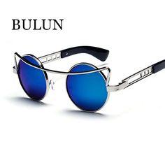 BULUN Steampunk Sunglasses Women Brand Designer Metal Sexy Cat Eye Sun Glasses Vintage Round Eyewear Oculos De Sol Feminino
