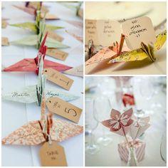 Origami pour la décoration des tables lors de la réception de mariage