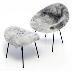 """H-5 """"Sindrachair"""", (1961-""""62) with ottoman, sheep skin cover. Designer: Ásgeir Einarsson"""